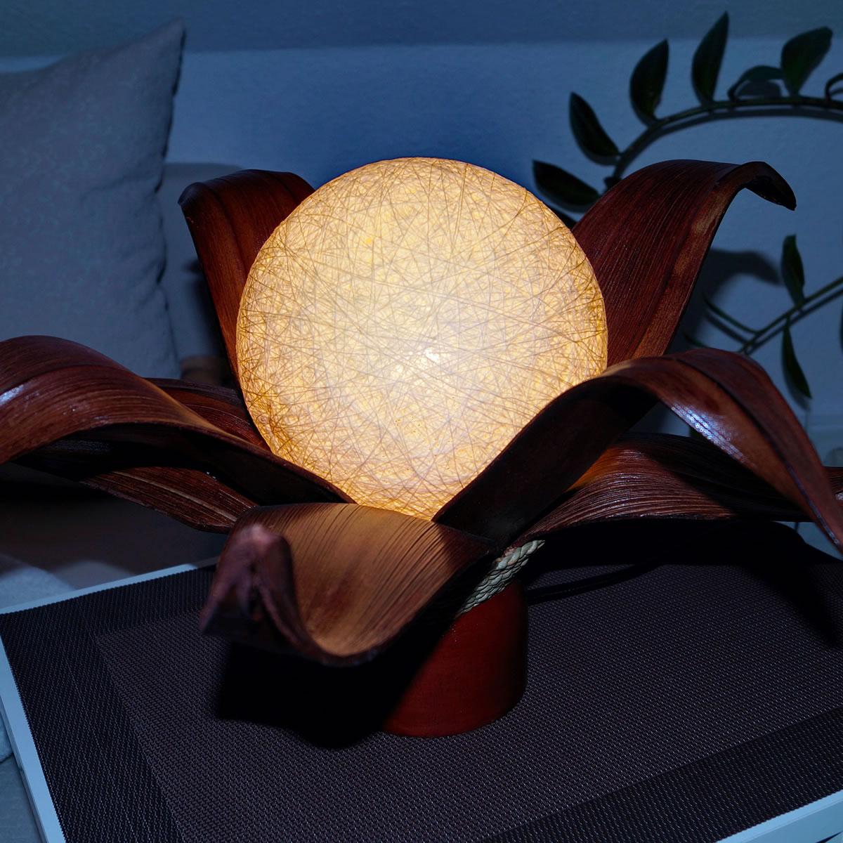 art decor Tischlampe / Lampe-Blüte mit Kokospalmemblättern ...