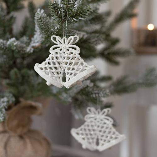 2er Set Weihnachtsglocke Weiss Glitzer Weihnachtsbaumdekoration