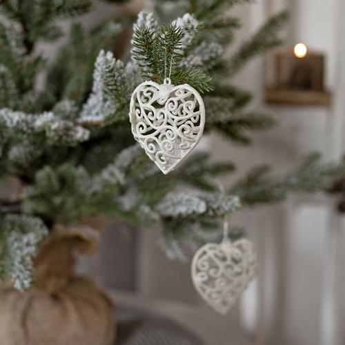 2er Set Weihnachtsherzen Weiss Glitzer Weihnachtsbaumdekoration