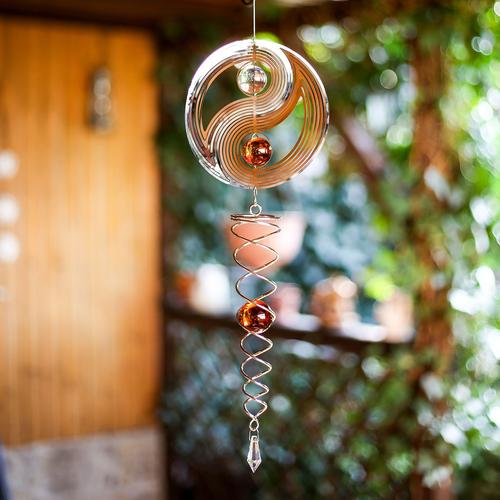 windspiele aus metall edelstahl, 3d windspiel yin yang mit kugelspirale, fensterdeko hängend, Design ideen