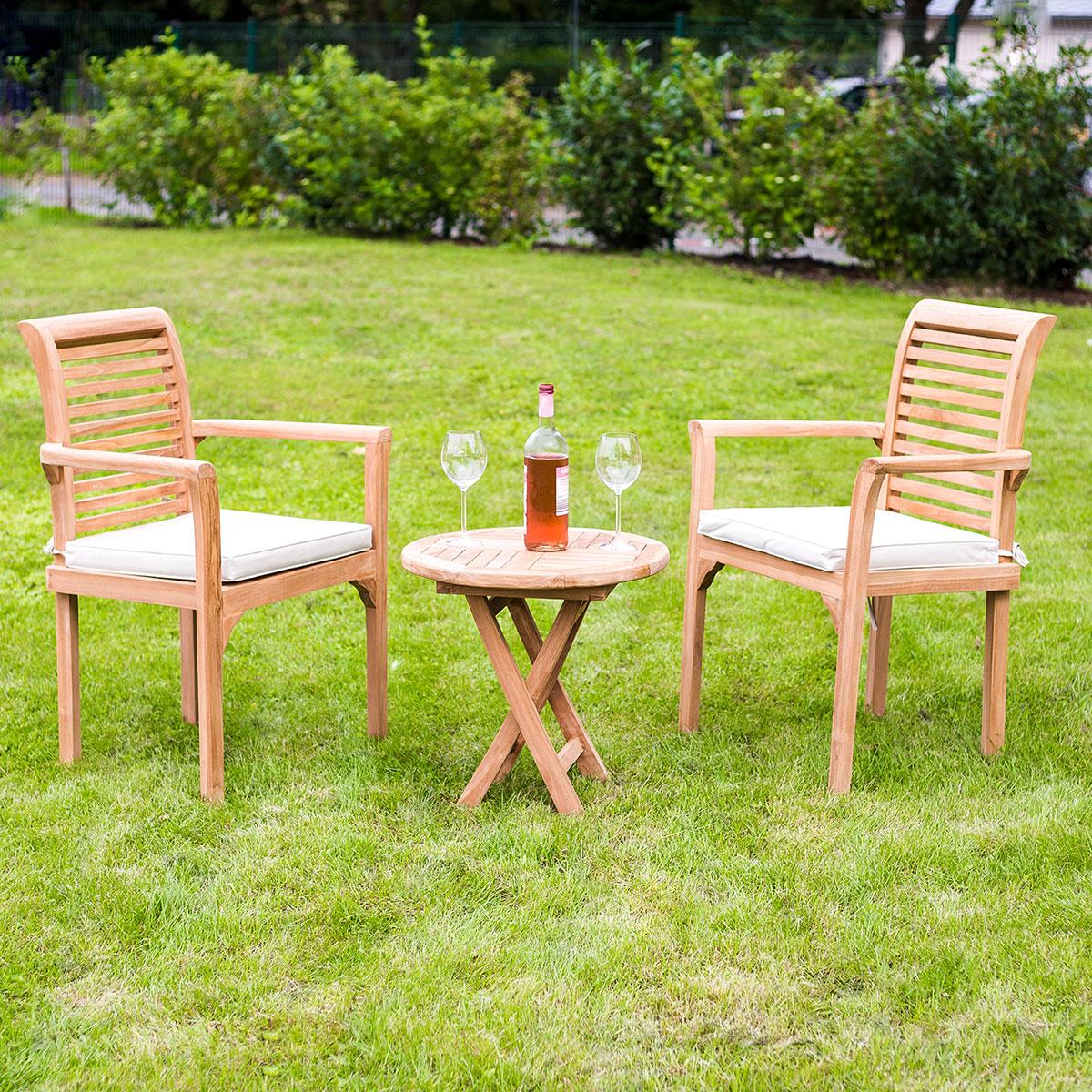 3er-Set Gartenmöbel aus Teak-Holz, Tisch Ø50cm, 2 x Stuhl mit ...