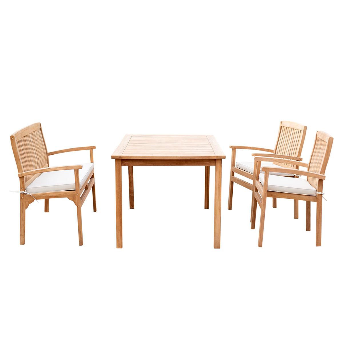 4er-Set Gartenmöbel aus Teak-Holz, Tisch 150x90, 2 x Stuhl mit ...