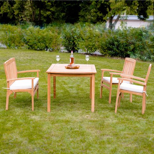 4er Set Gartenmobel Aus Teak Holz Tisch 150x90 2 X Stuhl Mit