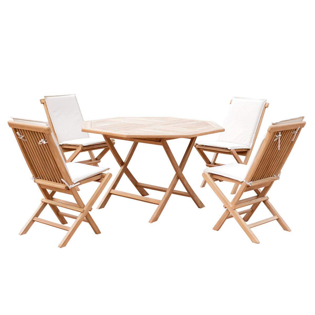 5er-Set Gartenmöbel aus Teak-Holz, Tisch Ø 120cm, 4x Klappstuhl mit ...