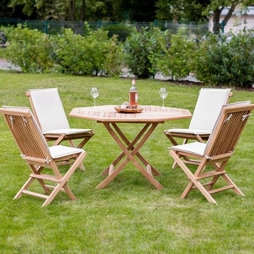 5er Set Gartenmöbel Aus Teak Holz Tisch ø 120cm 4x Klappstuhl Mit