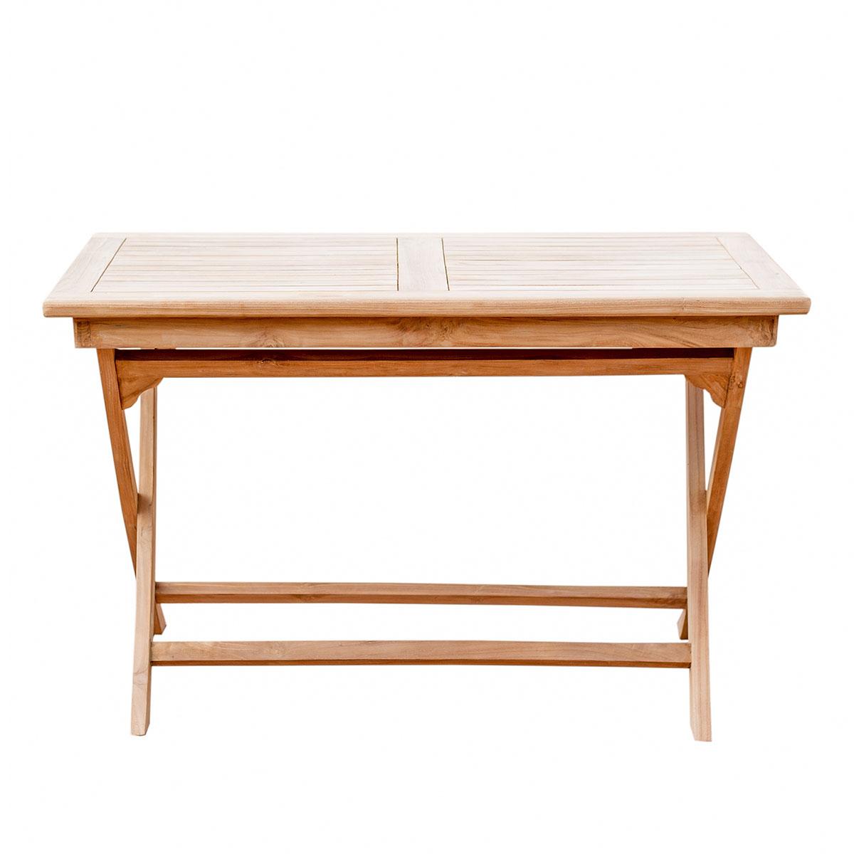 5er-Set Gartenmöbel aus Teak-Holz, Tisch 120x70, 4x Klappstuhl mit ...