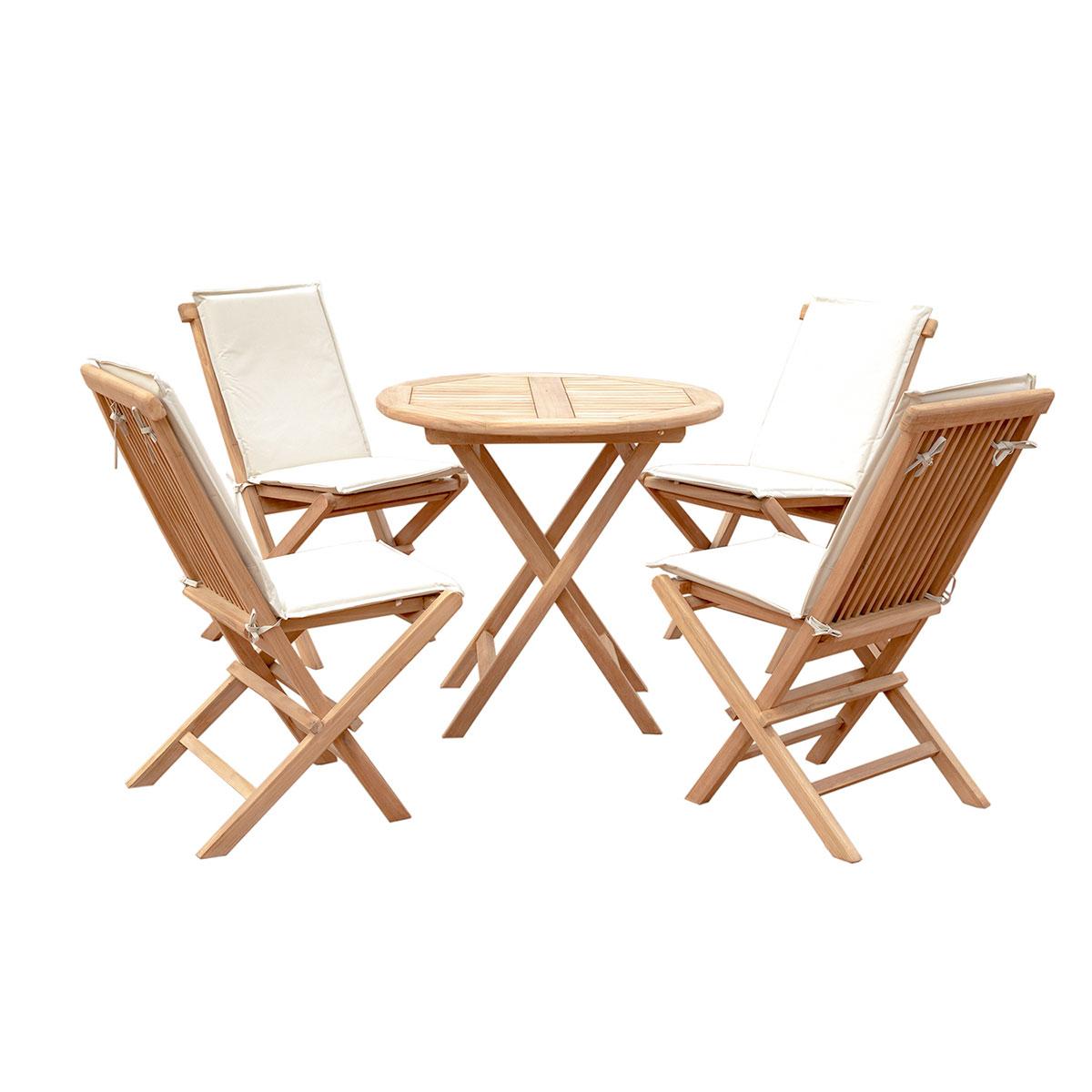 5er-Set Gartenmöbel aus Teak-Holz, Tisch Ø 80cm, 4x Klappstuhl mit ...