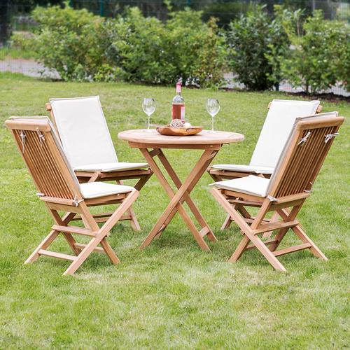 5er Set Gartenmöbel Aus Teak Holz Tisch ø 80cm 4x Klappstuhl Mit