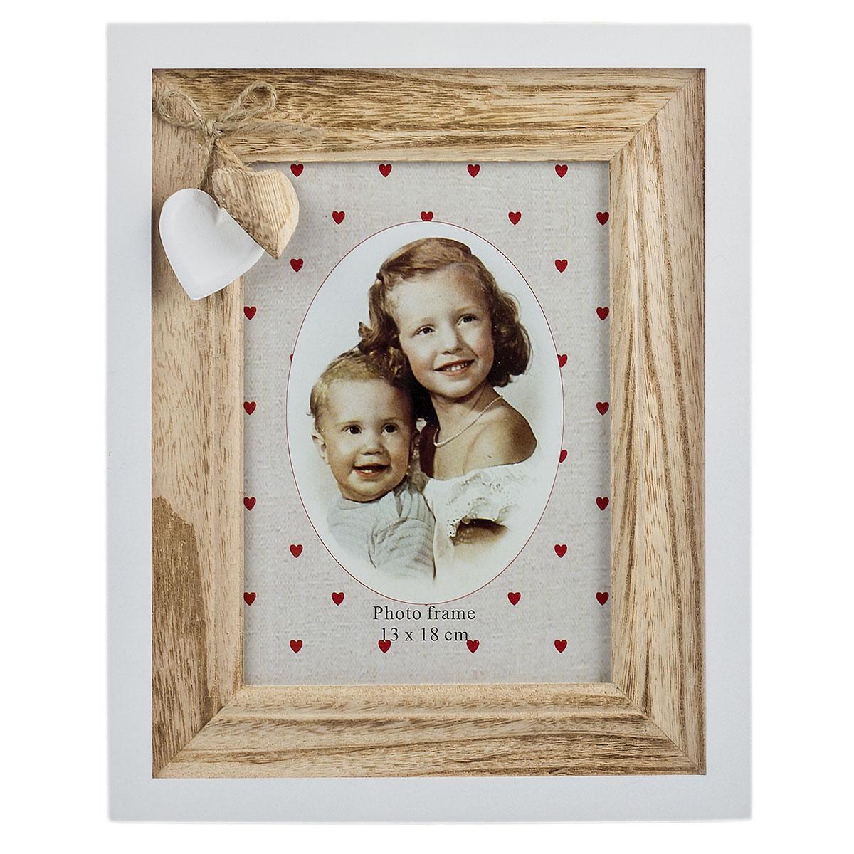 Bilderrahmen aus Holz, Herz, Fotorahmen, Portraitrahmen für 1 Foto ...