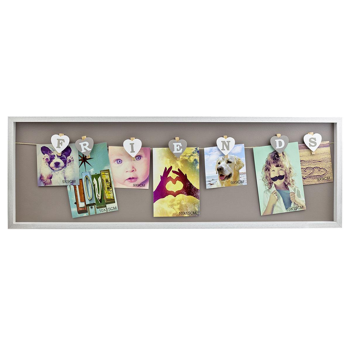 Bilderrahmen aus Holz, Klammern, Friends, Freunde, Fotocollage ...