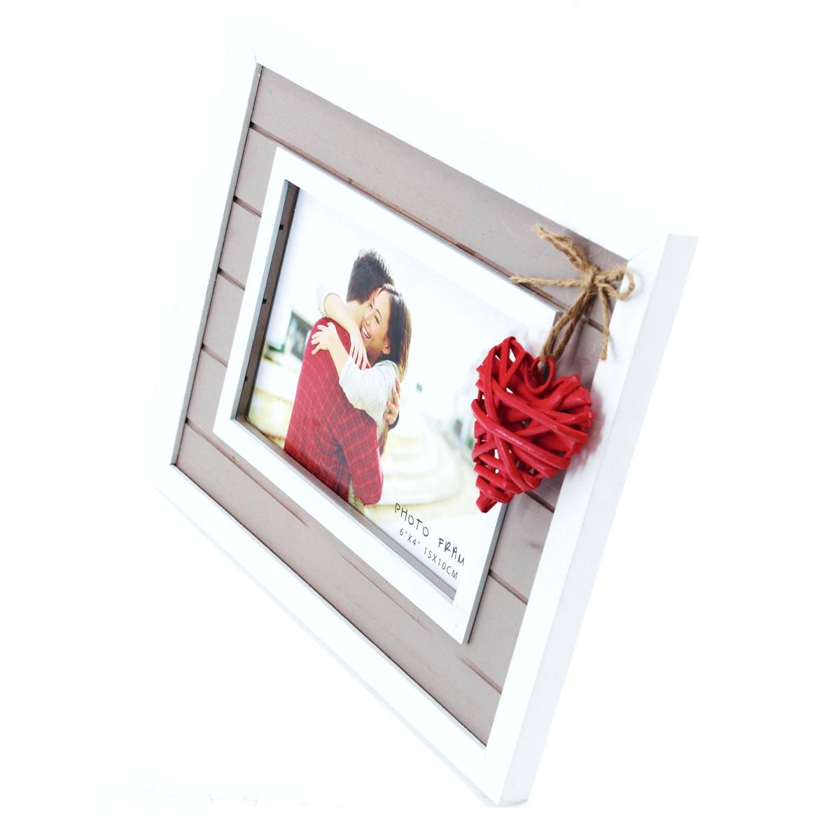 Bilderrahmen aus Holz, Rattan-Herz, Rot, Fotorahmen, Portraitrahmen ...