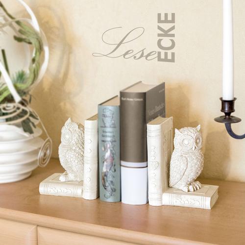 Buchstütze Küche | Buchstutze Eule 2er Set Buchhalter Skulptur Dekoobjekt Buch Eule