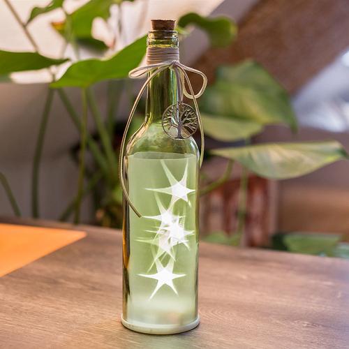 Flasche Mit Led Beleuchtung Dekoflasche Flaschenlicht Grun Hohe