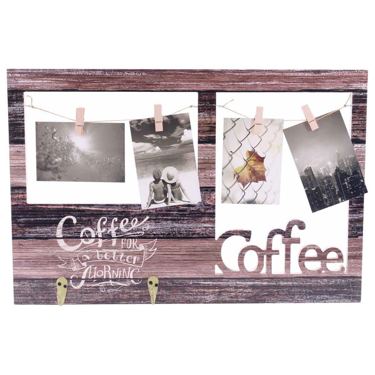 Fotorahmen, Bilderrahmen, Fotocollage aus Holz, Wandbild mit Haken ...