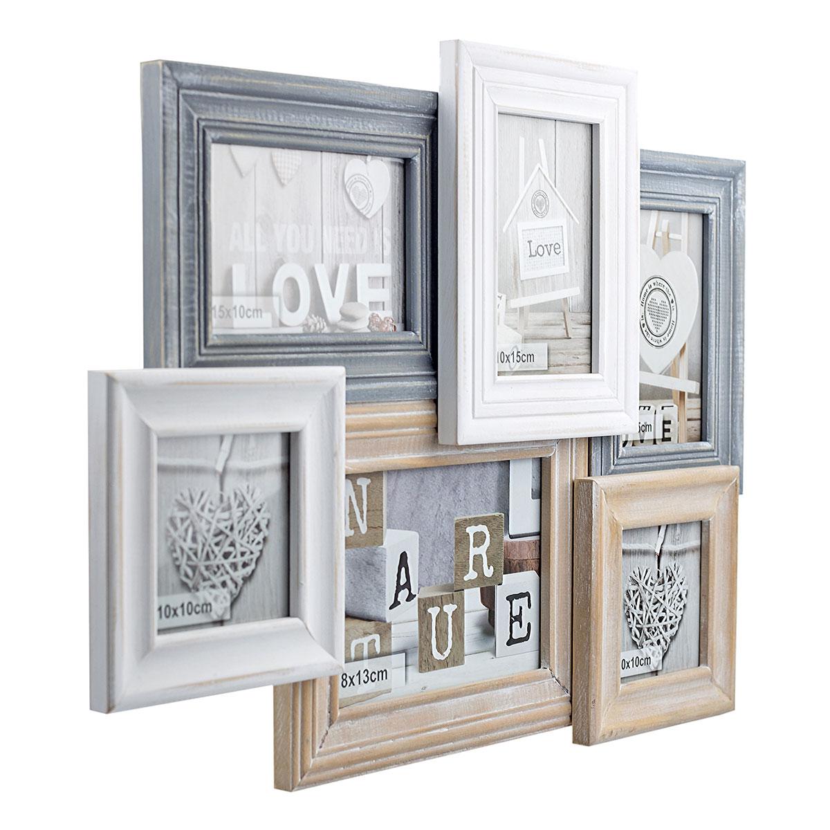 Fotorahmen, Bilderrahmen, Fotocollage aus Holz für 6 Bilder ...