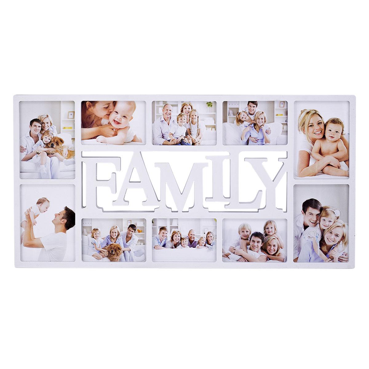 Fotorahmen, Bilderrahmen, Fotocollage für 10 Bilder, Weiß, Family ...