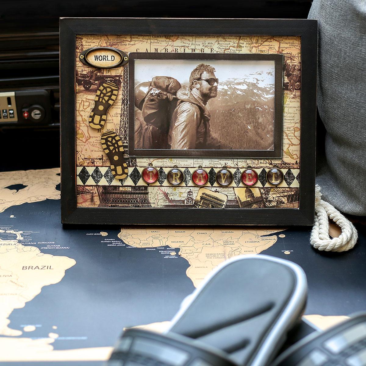 Fotorahmen Travel sepia, 10x15cm, Bilderrahmen Weltreise/Urlaub ...