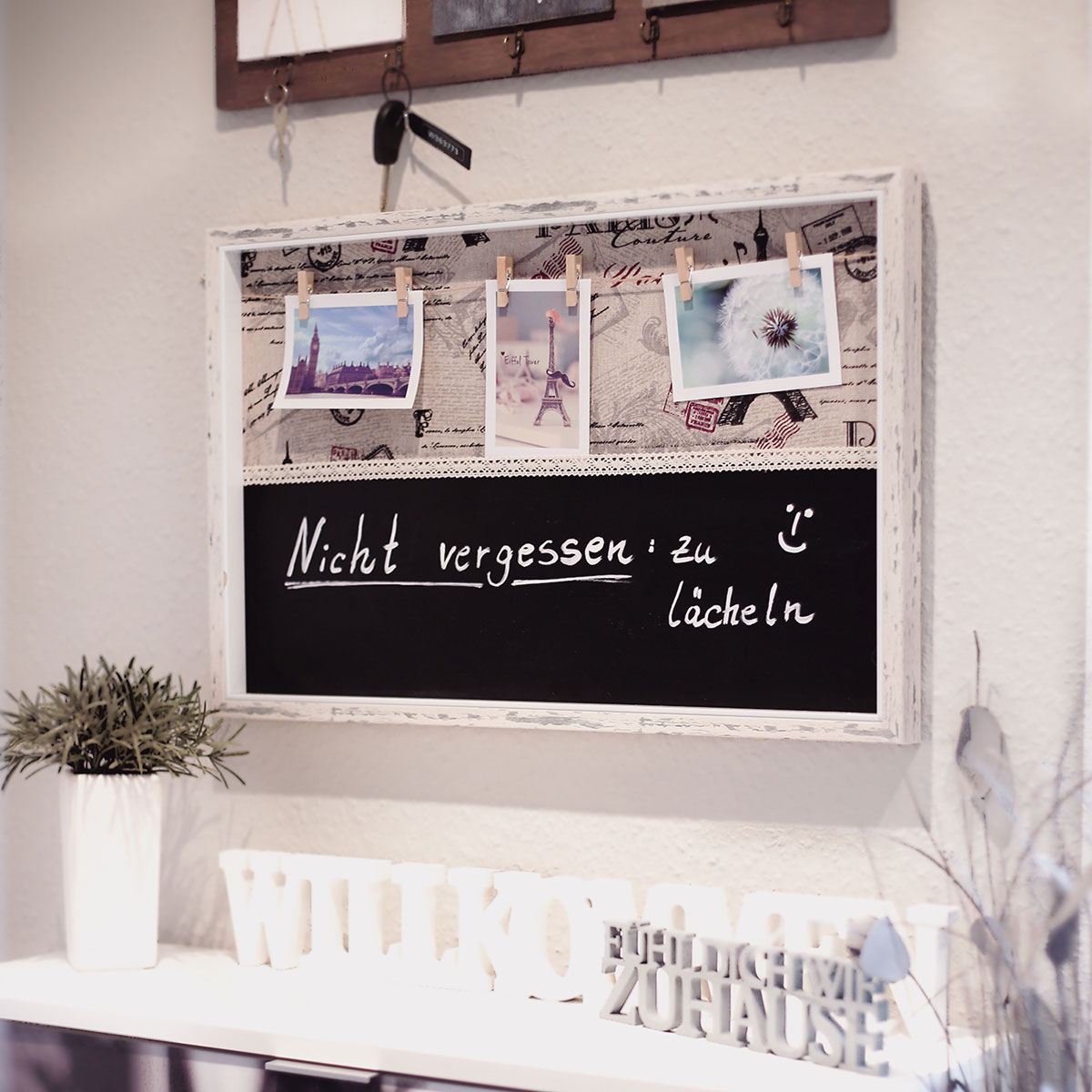 Fotorahmen mit Tafel, Memotafel, Bilderrahmen mit Leine / 6 Klammern ...