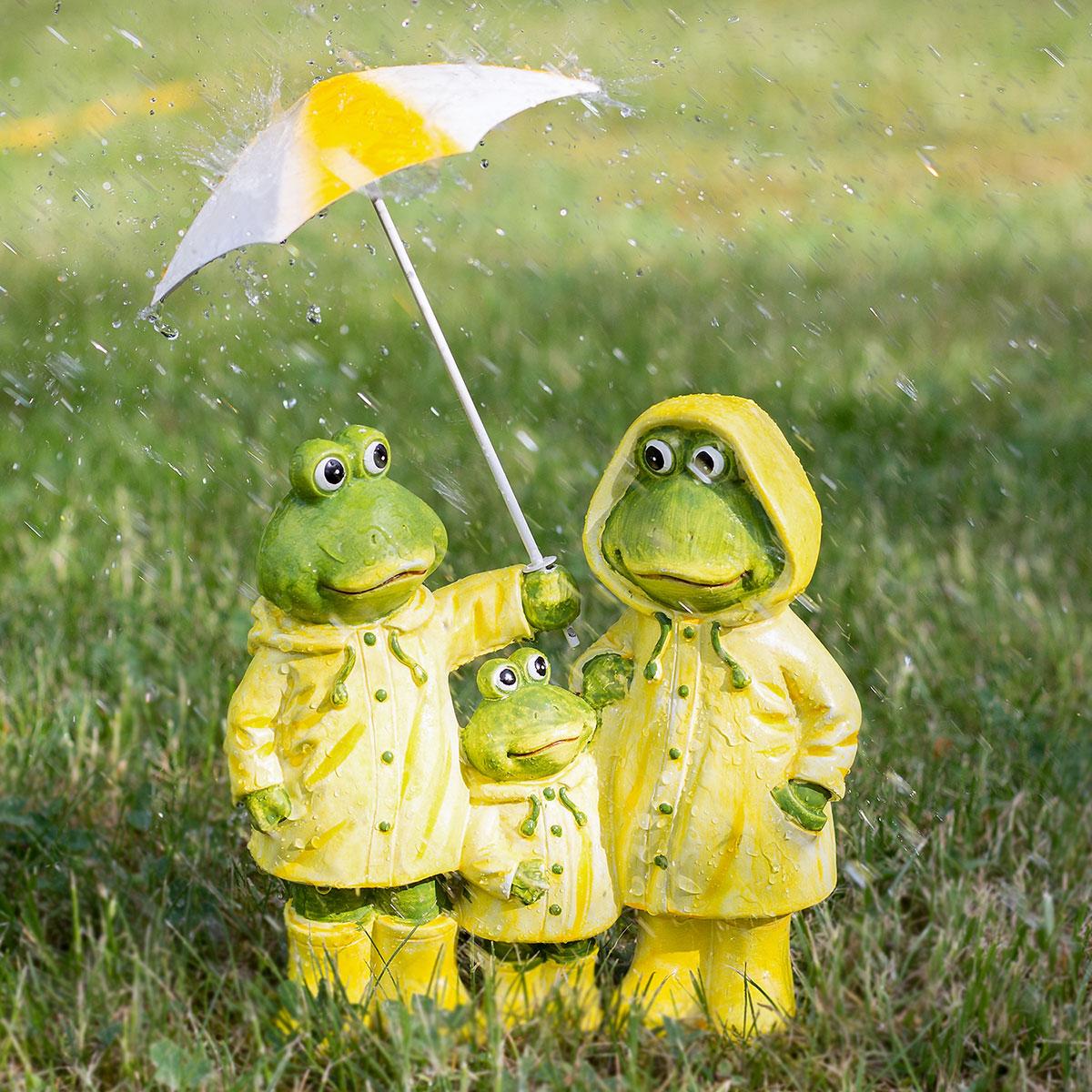 Frosch Familie mit Schirm Friesennerz Dekofigur Garten Balkon Dekoration