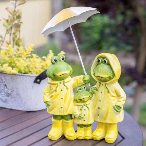 Frosch Familie Mit Schirm Friesennerz Dekofigur Garten Balkon