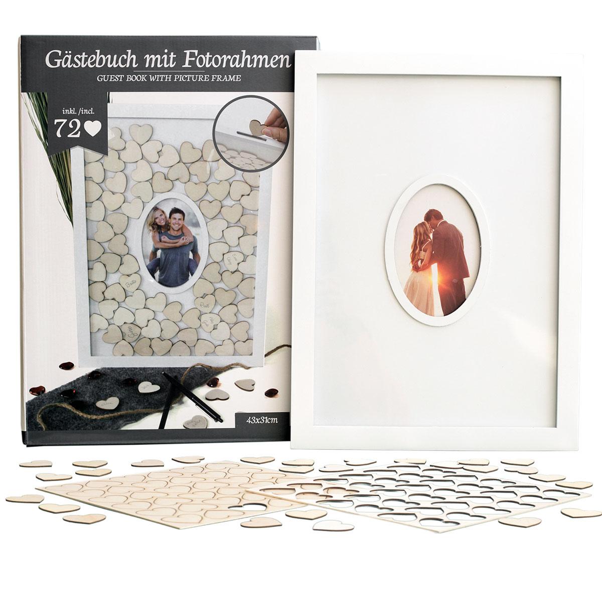 Gästebuch mit Fotorahmen, Bilderrahmen inklusive 72 Holzherzen ...
