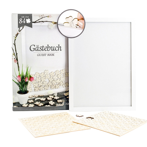 Gastebuch Mit Kleeblatt Bilderrahmen Inklusive 84 Holzkleeblattern