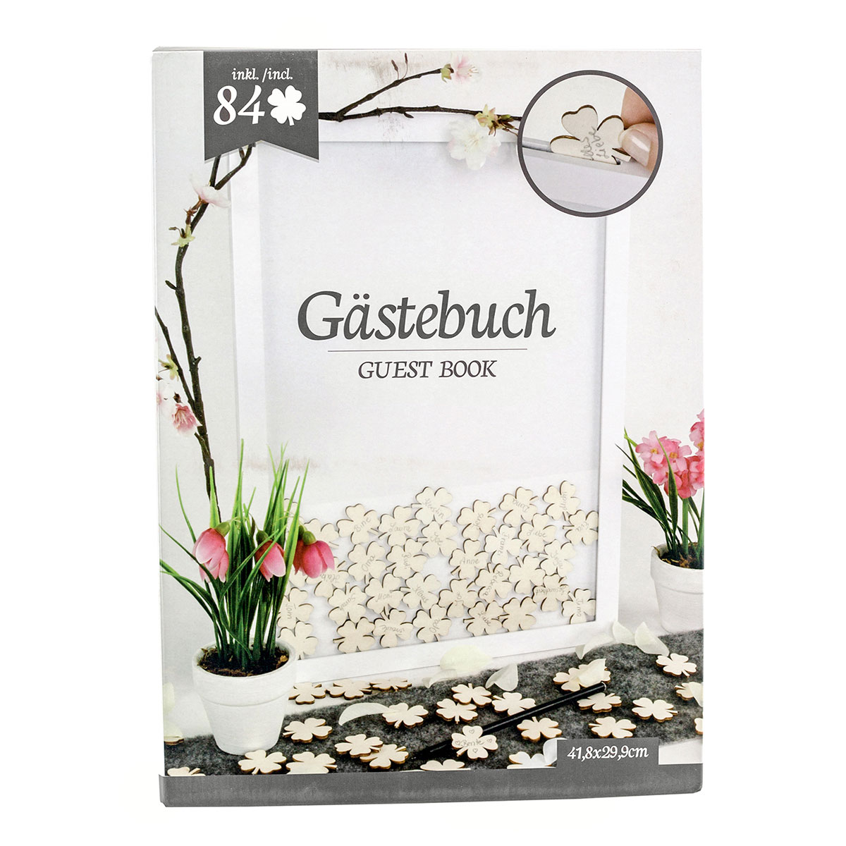 Gästebuch mit Kleeblatt, Bilderrahmen inklusive 84 Holzkleeblättern ...