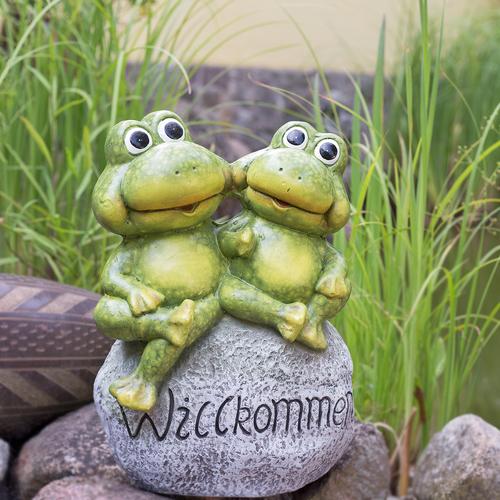 Figurine De Jardin Froschpaar Sur Pierre Willkommensstein Jardin