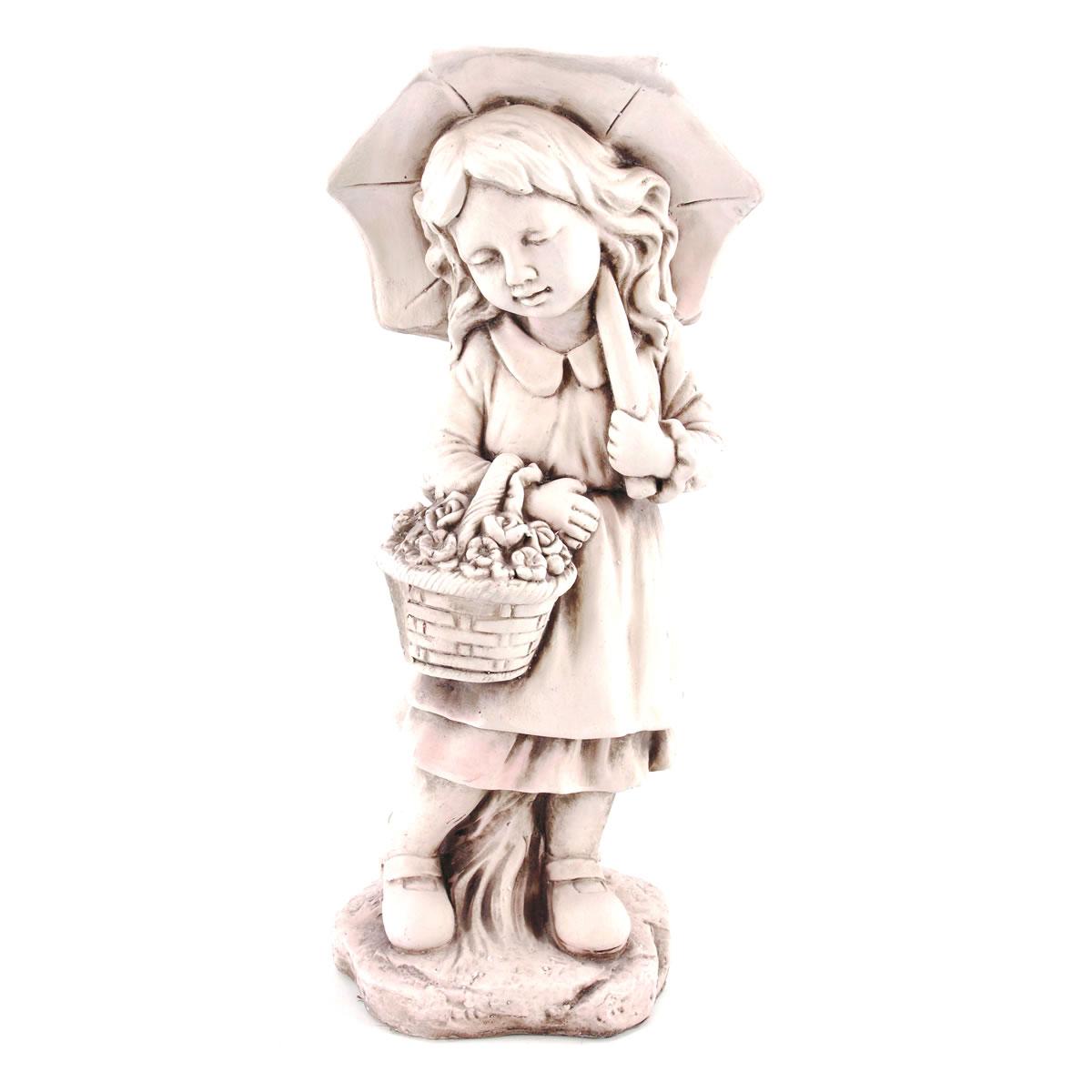 Gartenfigur Mädchen Mit Schirm Dekofigur Mädchenfigur Kinderfigur