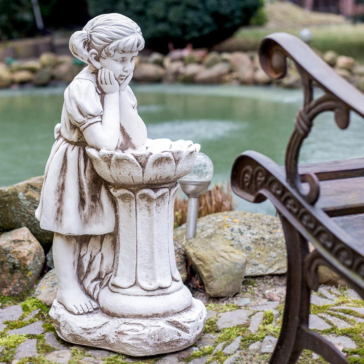 Gartenfigur Mädchen mit Vogeltränke, Dekofigur, Pflanzgefäß ...