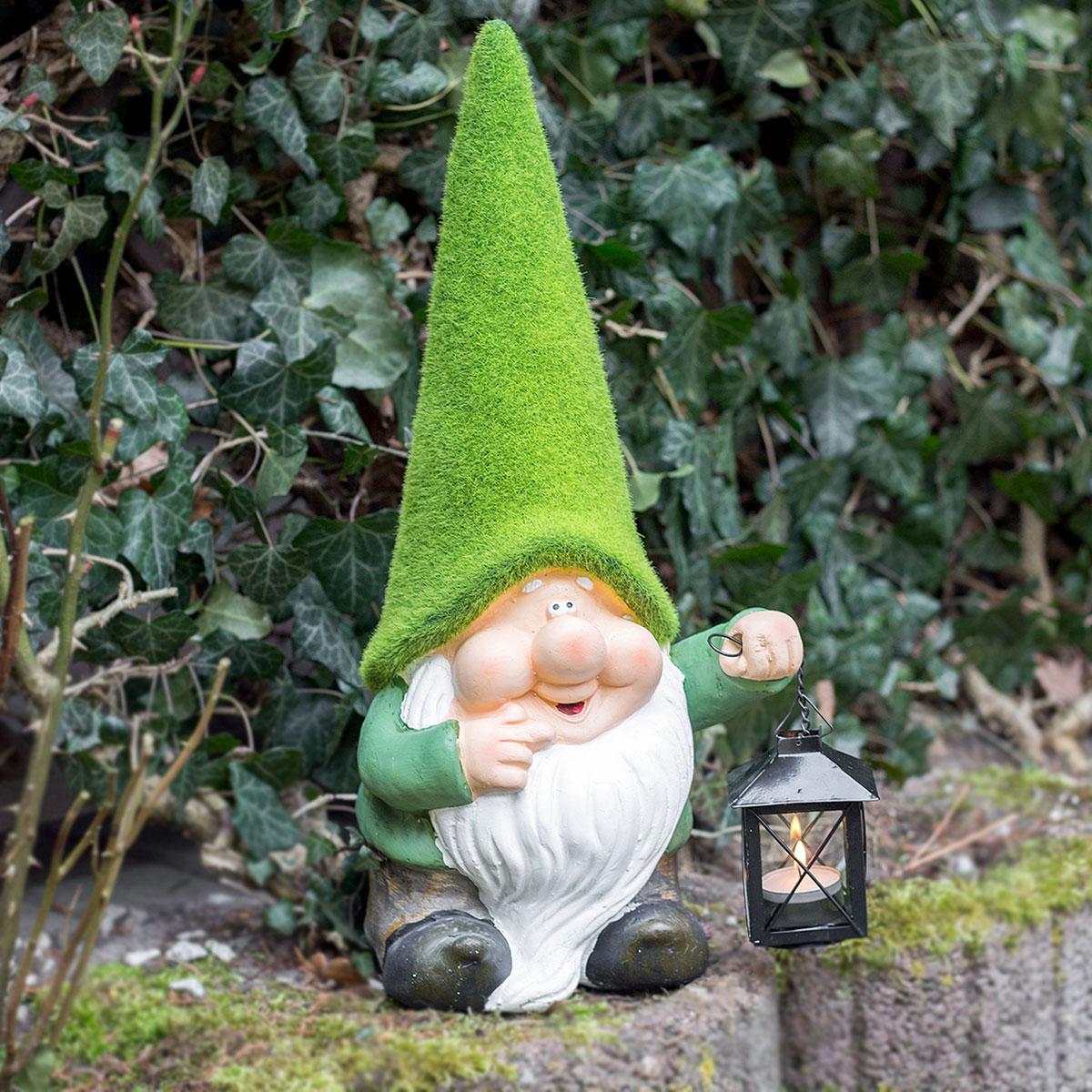 Gartenfigur Dekofigur Laterne m.Teelicht Gartenzwerg mit Laterne