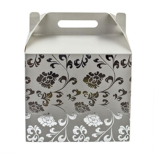 Geschenkbox Happy Floral Grau Silber Faltbare Geschenkverpackung