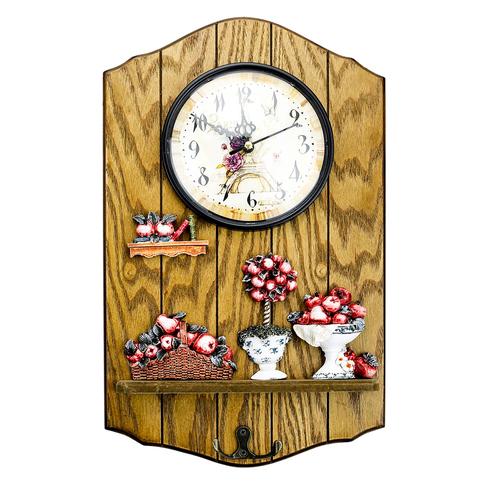 Wanduhr Holz Modern küchenuhr wanduhr mit dekoäpfel und 2 haken wanduhr modern große