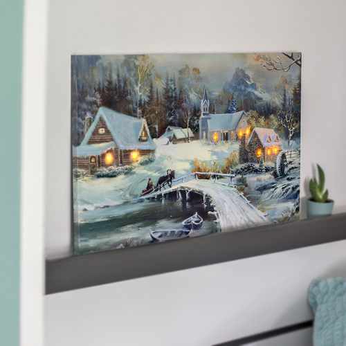 art decor LED Bild Winter-Blick, Wandbild, Leuchtbild, Leinwand, 40x60