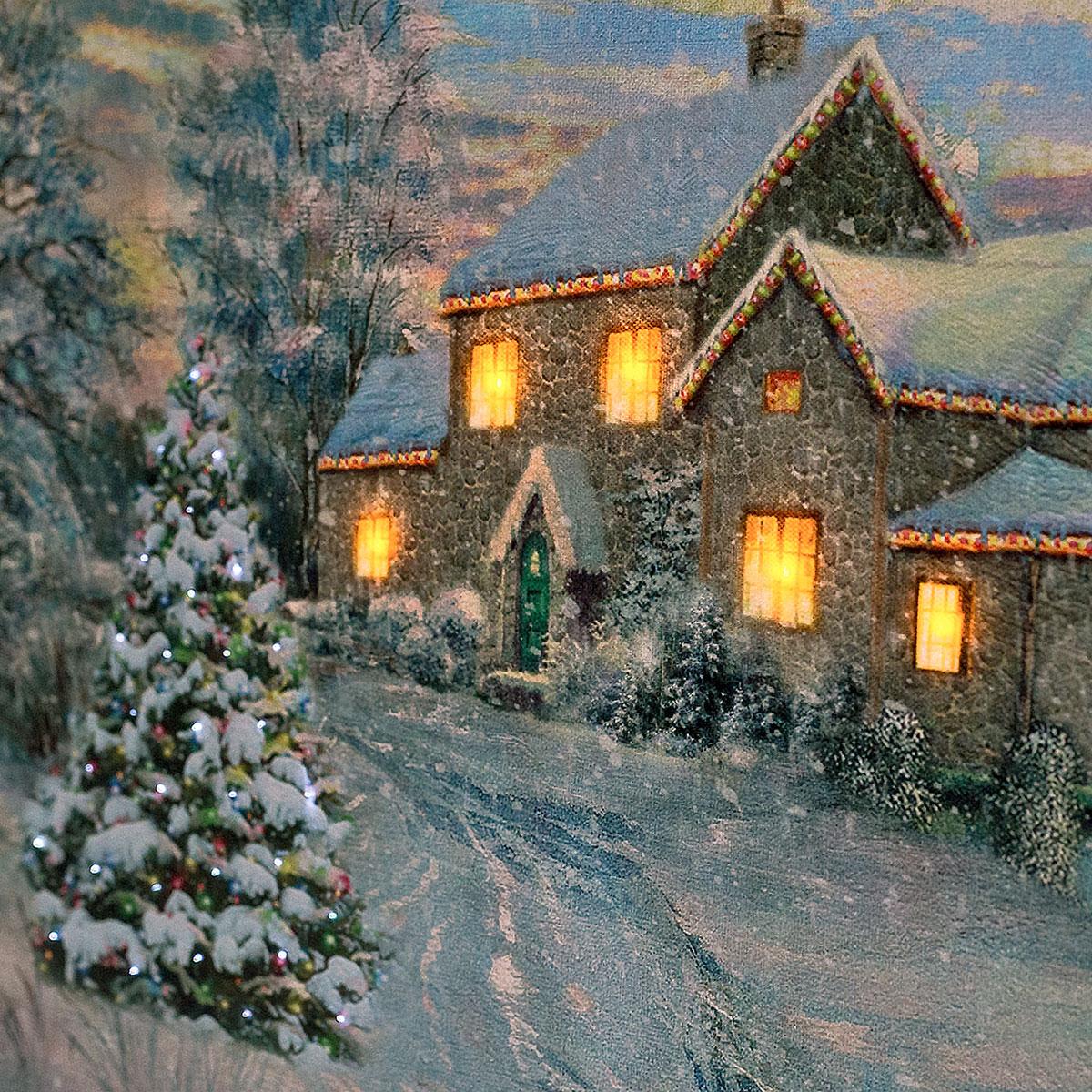 LED Bild Winter Villa, Wandbild, Leuchtbild, Leinwand, 40x60, bilder ...