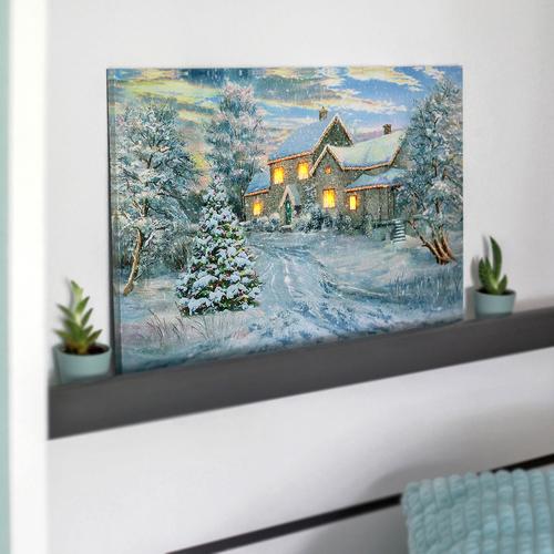 Led Bild Winter Villa Wandbild Leuchtbild Leinwand 40x60 Bilder