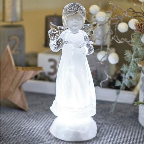 Weihnachtsbeleuchtung Engel.Led Engel Eisblau Leuchtender Led Engel Mit Einer Bibel In Der Hand H23cm