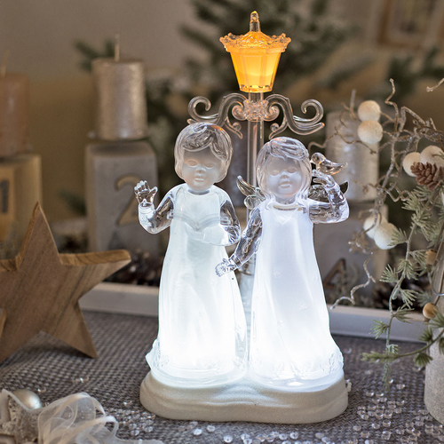 Weihnachtsbeleuchtung Engel.Led Engel Paar Eisblau Leuchtendes Led Engel Paar H30cm
