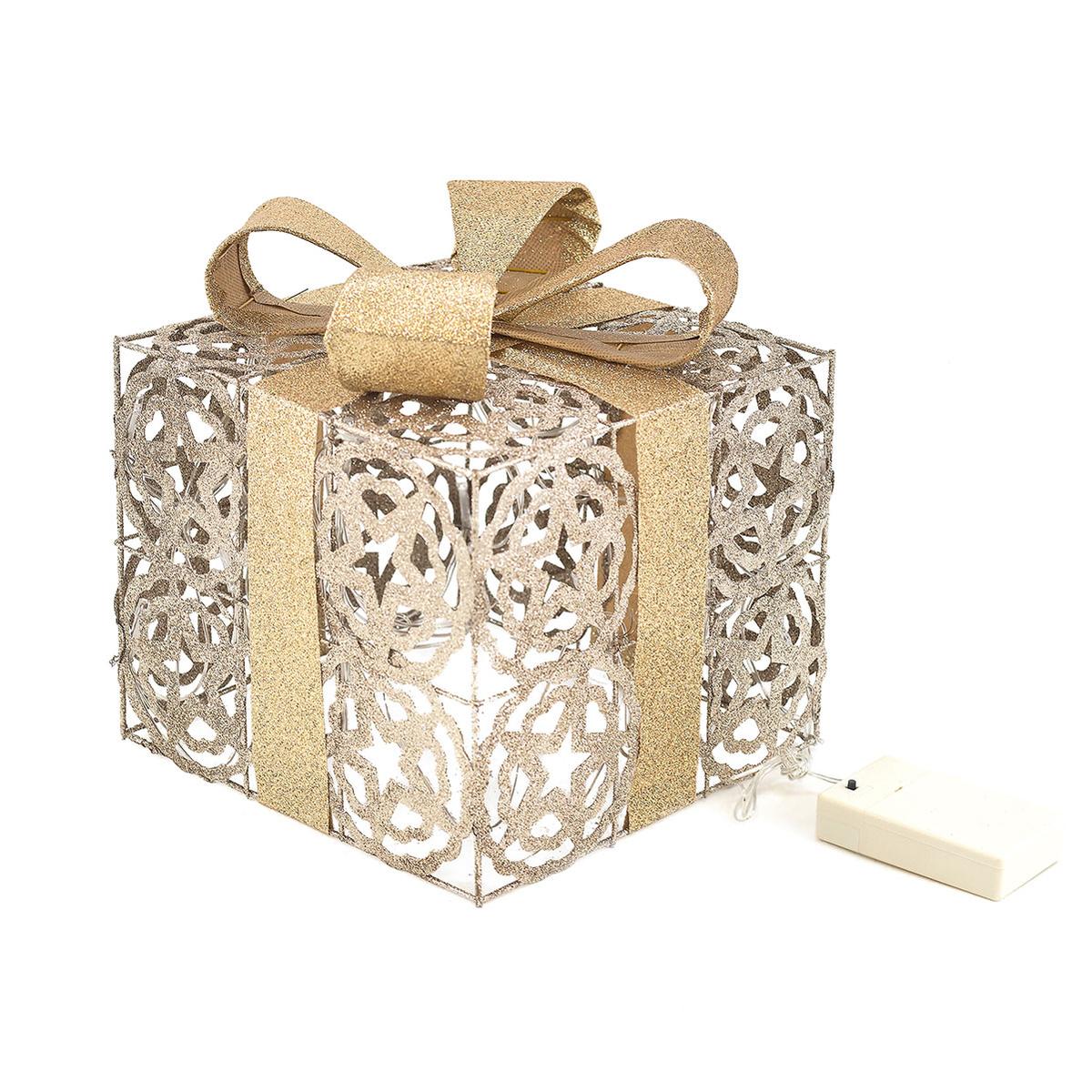 Geschenkbox Weihnachten.Led Geschenkbox Gold Weihnachtsdekoration Weihnachten Geschenkset Lichtbox