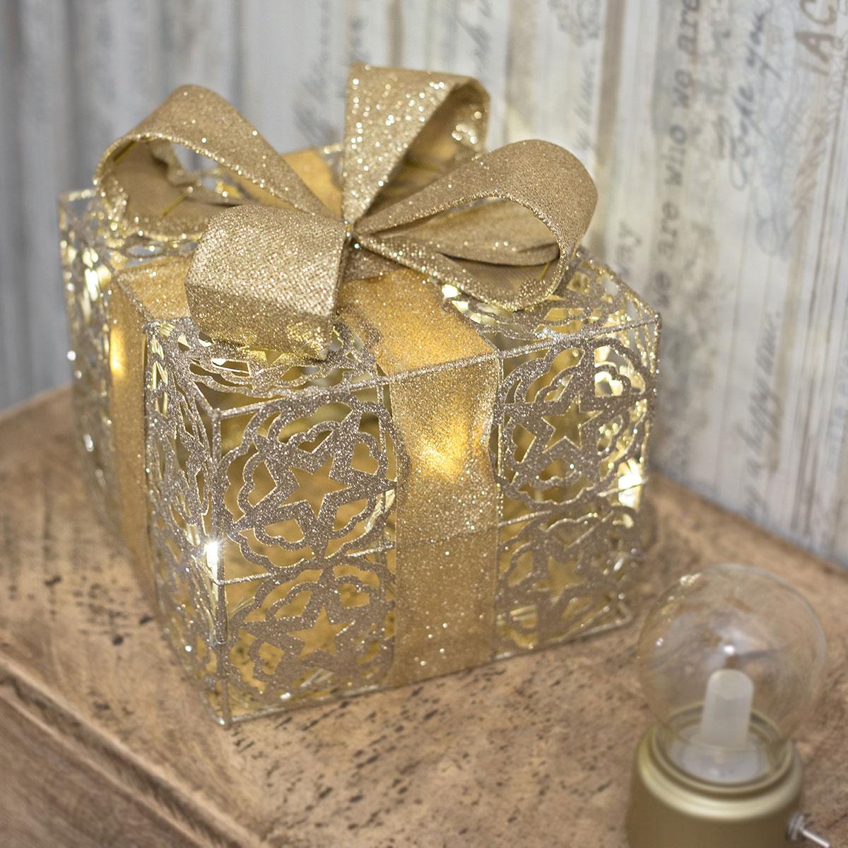 led geschenkbox gold weihnachtsdekoration weihnachten. Black Bedroom Furniture Sets. Home Design Ideas