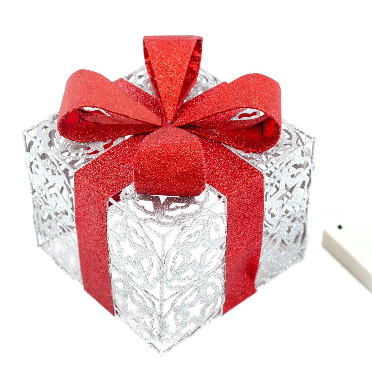 Geschenkbox Weihnachten.Led Geschenkbox Silber Weihnachtsdekoration Weihnachten Geschenkset Lichtbox