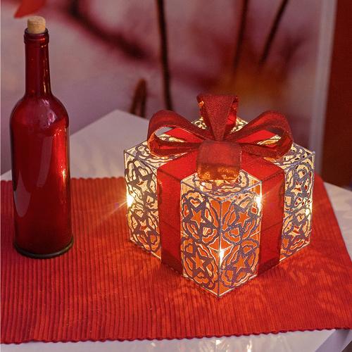 Led Weihnachten.Led Geschenkbox Silber Weihnachtsdekoration Weihnachten Geschenkset Lichtbox