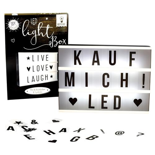 LED - Lichtbox mit 85 Buchstaben und Symbolen, batteriebetrieben, AN ...