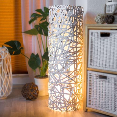 Led Rattan Lampe Stehlampe Dekolampe Stimmungsleuchte Innenliegender Schirm Weiss