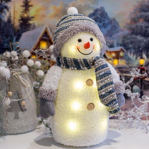 Weihnachtsbeleuchtung Figuren Led.Led Schneemann Weihnachtsdekoration Batteriebetrieben Blau Höhe Ca 33cm