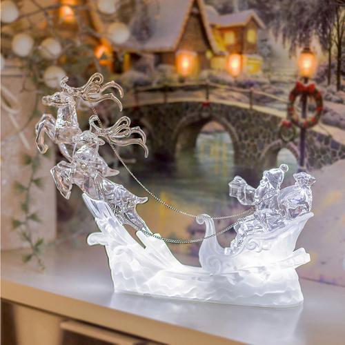 Leuchtende Weihnachtsdeko Außen.Led Weihnachtsmann Rentier Kutsche Eisblau Leuchtend Höhe Ca 19cm