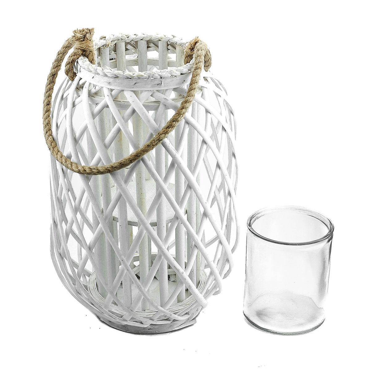 Laterne Rattan Mit Glas Windlicht Weiss Hohe Ca 40cm