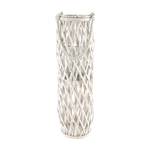 Laterne Rattan Mit Glas Windlicht Weiss Hohe Ca 70cm