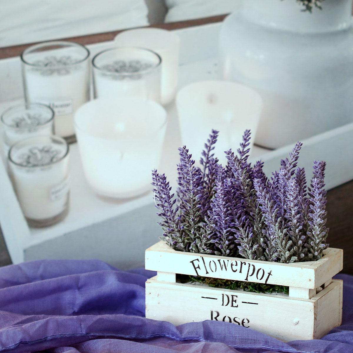 Lavendel in der Holzbox, Kunstpflanze, Lavendelpflanze, kunstblumen ...