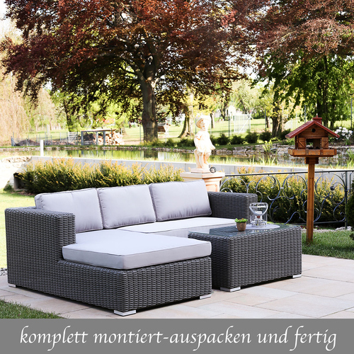 gartenmobel rattan lounge grau, polyrattan grau sitzgruppe. fabulous polyrattan sitzgruppe grau, Design ideen
